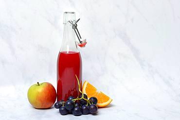 Fruit juice in bottle and fruit, Germany, Europe