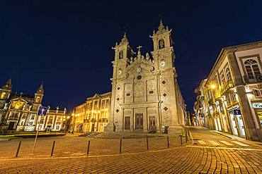 Santa Cruz or Holy Cross Church at night, Carlos Amarante square, Braga, Minho, Portugal, Europe