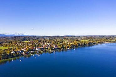 Seeshaupt am Starnberger See, aerial view, Fuenfseenland, Upper Bavaria, Bavaria, Germany, Europe