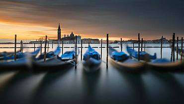 Gondolas at St. Mark's Square with San Giorgio Maggiore, Venice, Italy, Europe