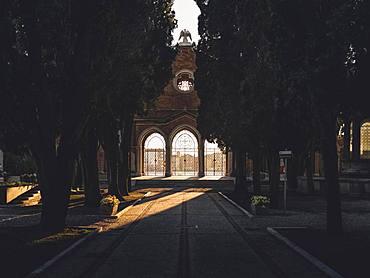 Main road on the cemetery island San Michele, Venice, Italy, Europe