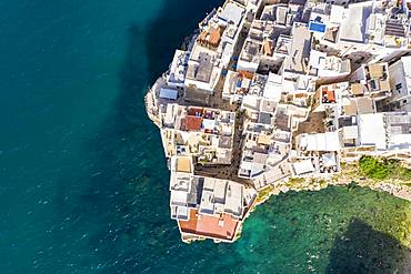 Aerial view of Polignano a Mare, Puglia, Southern Italy, Italy, Europe