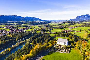 Castle church St. Michael in Schoellang and fishing in the Allgaeu, Iller, Illertal, drones shot, Oberallgaeu, Allgaeu, Swabia, Bavaria, Germany, Europe