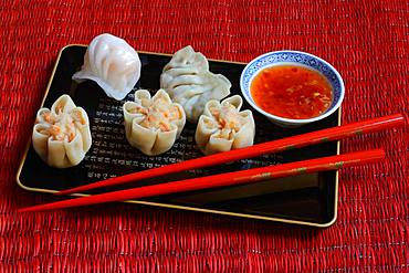 Dim Sum, filled dumplings on tray with red chopsticks and chilli sauce, Germany, Europe