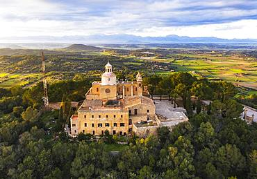 Monastery Santuari de Bonany in the evening light, near Petra, drone picture, Majorca, Balearic Islands, Spain, Europe