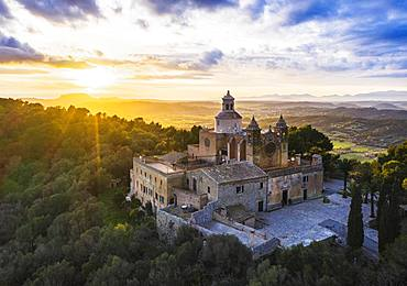 Monastery Santuari de Bonany at sunset, near Petra, drone picture, Majorca, Balearic Islands, Spain, Europe