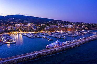 Aerial view, luxury marina Puerto Portals, Portals Nous, Palma de Majorca region, Majorca, Balearic Islands, Spain, Europe