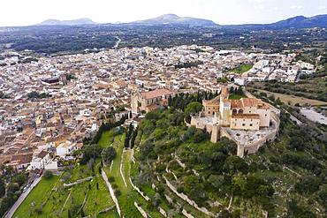 Aerial photos, Arta with parish church Transfiguracio del Senyor and monastery Santuari de Sant Salvador at the Calvary, Majorca, Balearic Islands, Spain, Europe