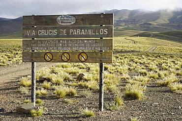 Sign of the highest Way of the Cross in the world, Via Cruzis de Paramillos, Uspallata, Province of Mendoza, Argentina, South America