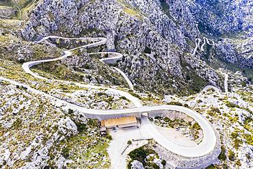 Serpentine road MA-2141 with tie knots Sa Moleta, Sa Calobra, Serra de Tramuntana, drone recording, Majorca, Balearic Islands, Spain, Europe