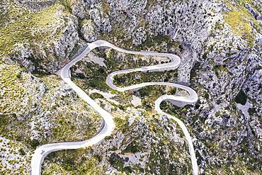 Serpentine road MA-2141 to Sa Calobra, Serra de Tramuntana, drone recording, Majorca, Balearic Islands, Spain, Europe