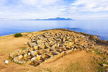 Necropolis of Son Real, Punta des Fenicis near Can Picafort, in the back peninsula Victoria, drones shot, Majorca, Balearic Islands, Spain, Europe