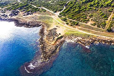Necropolis of Son Real, Punta des Fenicis near Can Picafort, drone image, Majorca, Balearic Islands, Spain, Europe