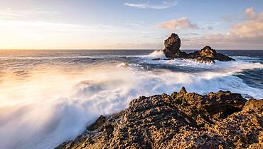 Rocky island Roque de Santo Domingo, on the coast near Santo Domingo de Garafia, Atlantic Ocean, La Palma, Canary Islands, Canary Islands, Spain, Europe