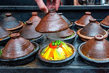 Vegetables prepared in tajine, Marrakech, Morocco, Africa