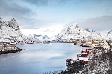 Fishing village Reine in winter, Reinefjord, Moskenesoy, Lofoten, Norway, Europe
