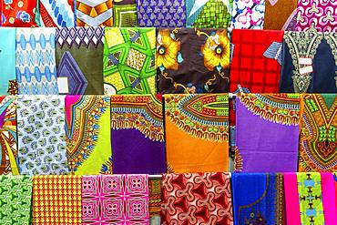 Plenty of colorful African fabrics, Maputo, Mozambique, Africa
