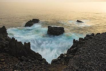 Detail and long time exposure of water at the coast, evening mood at the Atlantic coast, La Palma, Canary Islands, Canary Islands, Spain, Europe
