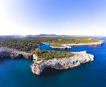 Cala Sa Nau with Forat d'en Mengo, near Cala d'Or, Migjorn region, drone shot, Majorca, Balearic Islands, Spain, Europe