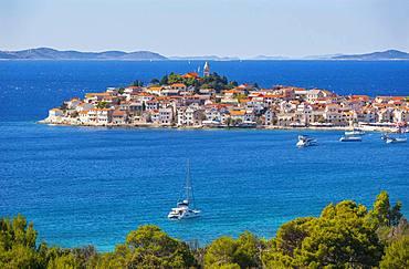 Sailboats, Primosten, Croatian Adriatic Coast, Central Dalmatia, Dalmatia, Croatia, Europe