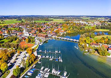 Seebruck with marina, outflow of the Alz from the Chiemsee, Chiemgau, Alpine foreland, aerial view, Upper Bavaria, Bavaria, Germany, Europe