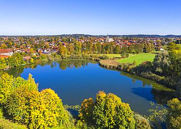 Pfeffersee and Chieming, Chiemgau, Alpine foreland, aerial view, Upper Bavaria, Bavaria, Germany, Europe