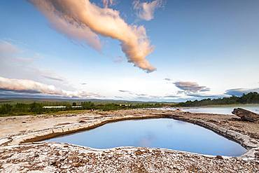 Blesi thermal spring, Haukadalur geothermal area, Golden Circle, Southern Iceland, Iceland, Europe