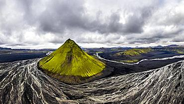 Aerial view, Maelifell mountain covered with moss, Maelifell, black sand desert Maelifellssandur, behind glacier Myrdalsjoekull, Icelandic highlands, Iceland, Europe