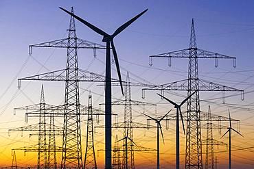 Photomontage, power lines, overhead lines, high voltage pylons, wind turbines, Baden-Wuerttemberg, Germany, Europe