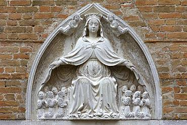 Relief of the Virgin Mary, representation of the Virgin Mary hiding the faithful under her spread cloak, Venice, Veneto, Italy, Europe