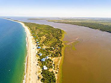 Aerial view of Macaneta Beach, north Maputo, Mozambique, Africa