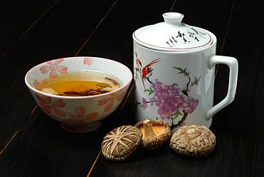 Shiitake tea in bowl, teapot and shiitake mushrooms, Germany, Europe