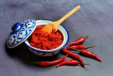 Red Thai curry paste and red chilli peppers, Germany, Europe