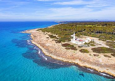 Lighthouse at Cap de ses Salines, southernmost point of Majorca, Migjorn region, Mediterranean Sea, aerial view, Majorca, Balearic Islands, Spain, Europe