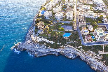 Holiday settlement in Cala Figuera, near Santanyi, aerial view, region Migjorn, Mediterranean Sea, Majorca, Balearic Islands, Spain, Europe
