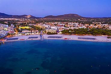 Aerial view over Costa de la Calma and Santa Ponca with hotels and beaches, Costa de la Calma, region Caliva, Majorca, Balearic Islands, Spain, Europe