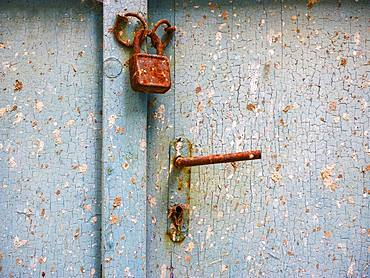 Old door lock with door handle on weathered wooden door, Baska, Island of Krk, Kvarner Gulf Bay, Croatia, Europe