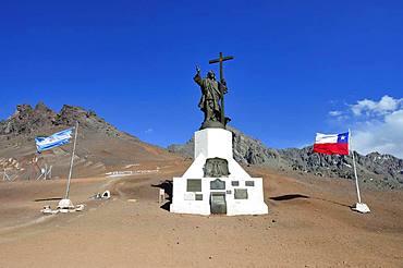 Statue of Cristo Redentor de los Andes, Christ Redeemer of the Andes, Paso de la Cumbre, near Uspallata, Mendoza Province, Argentina, South America