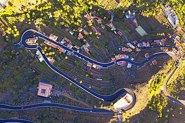 Serpentines and church San Antonio, Valle Gran Rey, aerial view, La Gomera, Canary Islands, Spain, Europe