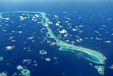 Outer reef with large dredged sand areas, Vaavu Atoll or Felidhu Atoll, Indian Ocean, Maldives, Asia