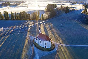 Pilgrimage church St. Leonhard, Leonhardikapelle, near Dietramszell, drone recording, Upper Bavaria, Bavaria, Germany, Europe