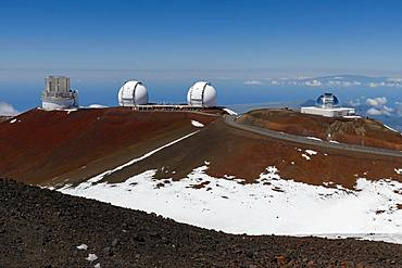 Mauna Kea Observatory, Subaru Telescope, Keck Observatory and Infrared Telescope Facility, Mauna Kea Ice Age Natural Area Reserve, Big Island, Hawaii, USA, North America
