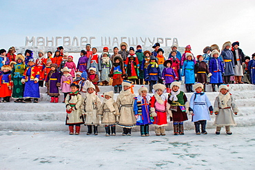 Mongolian children in traditional clothing, winter, Khovd Province, Mongolia, Asia