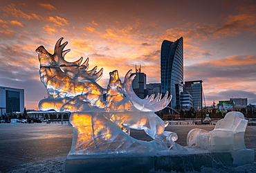 Iced sculpture, deer and carriage, New year street decoration, Ulaanbaatar city, Mongolia, Asia