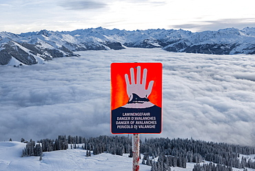 Avalanche danger sign in a skiing area, Brixen im Thale, Tyrol, Austria, Europe