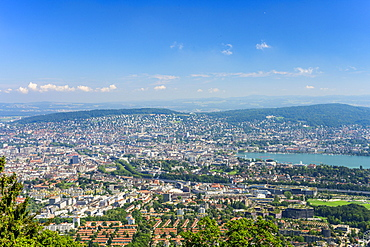 View from the Uetliberg to the city of Zurich and Lake Zurich, Top of Zurich, Canton Zurich, Switzerland, Europe
