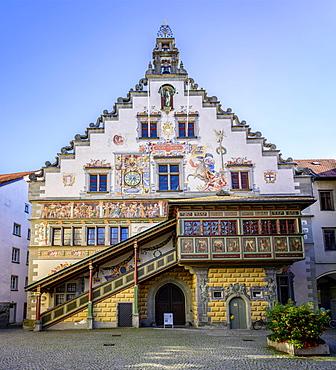 Colourful painted facade, Old town hall, Lindau island, Lindau on Lake Constance, Swabia, Germany, Europe