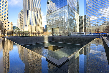 South Pool Memorial Fountain, World Trade Center Memorial, 9-11 Memorial, Ground Zero, Manhattan, New York City, New York, USA, North America
