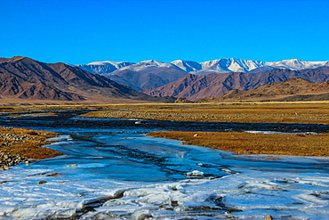 Buyant river with mountain Khukhu serkh, Khovd province Mongolia