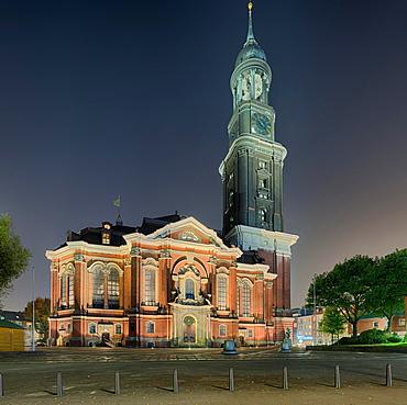 St. Michaelis Church illuminated, Hamburg, Germany, Europe